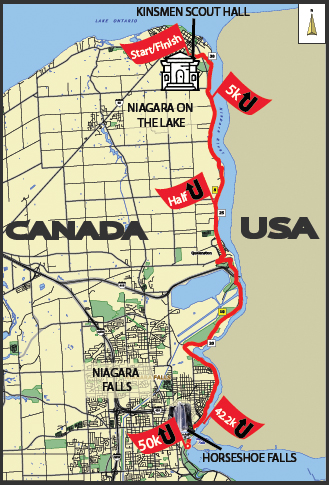 Niagara Ultra Half marathon Route map
